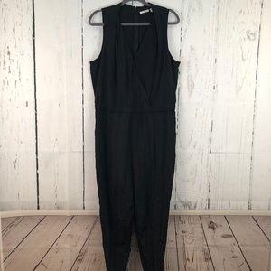 Halogen Black Satin Jumpsuit with Pockets